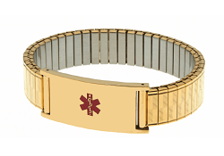 Men's Stainless Steel Expansion Band Medical ID Bracelet - Gold Plated