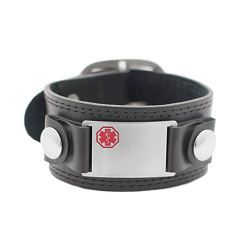 Mod Medical ID Bracelet - Black Leather