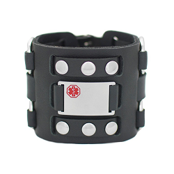 Mod Medical ID Bracelet - Black Leather Wide