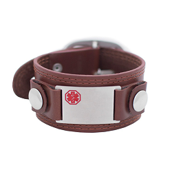 Mod Medical ID Bracelet - Brown Leather