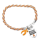 Multiple Sclerosis Awareness Silver Ribbon Orange Rope Charm Bracelet