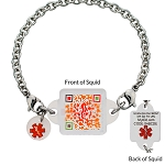 My ID Square Squid Square Medical Bracelet - Candy Apple Red