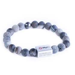 Natural Earth Geode MyID QR Code Beaded Medical ID Bracelet