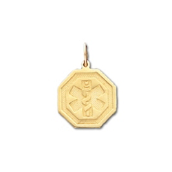 Octagon Medical ID Pendant in 10K, 14K Gold or Silver - 16mm