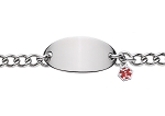 Oval Stainless Steel Bracelet with Medical ID Charm