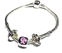 Breast Cancer Awareness Silver Dangling Charms Bracelet