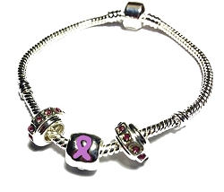 Epilepsy Awareness Silver Dangling Charms Bracelet