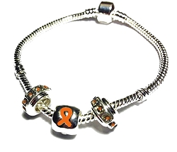 Multiple Sclerosis Awareness Silver Dangling Charms Bracelet