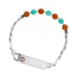 Red Jasper and Turquoise Beaded Medical ID Bracelet