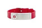 Red Rubber Stainless Compartment Medical ID Bracelet