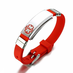 Red Rubber Silicone Stainless Medical ID Bracelet Plus