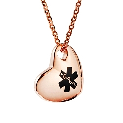 Stainless Medical ID Pendant Necklace - Rose Gold Puffed Heart