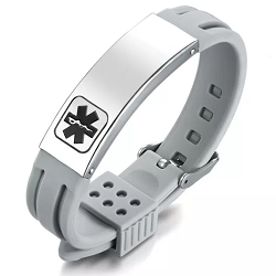 Rubber Silicone Stainless Medical ID Sport Bracelet - Gray