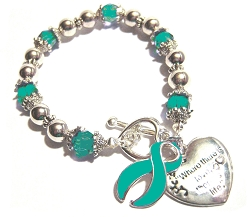 Scleroderma Awareness Silver Ribbon and Heart Charm Bracelet