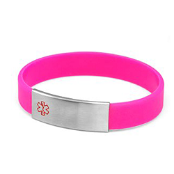 Neon Pink Silicone Bracelet with Removable Stainless Steel Medical ID Tag