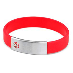 Red Silicone Bracelet with Removable Stainless Steel Medical ID Tag