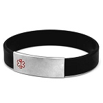 Black Silicone Bracelet with Removable Stainless Steel Medical ID Tag