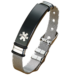 Sleek Mesh Medical ID Bracelet - Silver and Black Tone