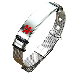 Sleek Mesh Medical ID Bracelet - Silver Tone