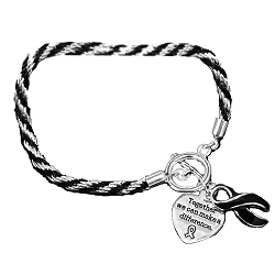 Sleep Apnea Awareness Silver Ribbon Black Rope Charm Bracelet
