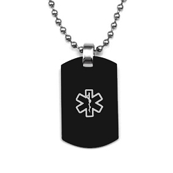 Small Stainless Steel Black Dog Tag Pendant with Gray Medical ID Symbol