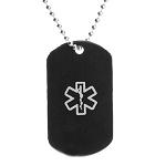 Stainless Steel Black Dog Tag Pendant with Gray Medical ID Symbol