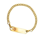 Stainless Steel Gold Plated Link Medical ID Bracelet