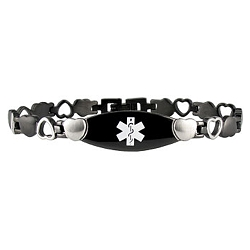 Stealth Heart Link Stainless Steel Medical ID Bracelet - Black Tone