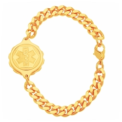 Unisex SOS Emergency Medical ID Bracelet - Gold Plated