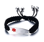 Women's Adjustable Black Braided Rope Medical ID Bracelet
