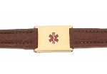 Women's Brown Leather and Stainless Adjustable Medical ID Bracelet - Gold Plated