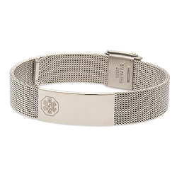 Women's Stainless Steel Mesh Medical ID Bracelet