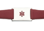 Women's Red Leather and Stainless Adjustable Medical ID Bracelet