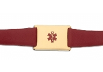 Women's Red Leather and Stainless Adjustable Medical ID Bracelet - Gold Plated