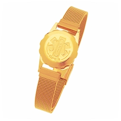 Women's SOS Emergency Medical ID Bracelet - Gold Plated Mesh
