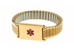 Women's Stainless Steel Expansion Band Medical ID Bracelet - Gold Plated