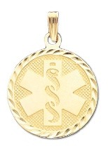 Diamond Cut Medical ID Pendant in 14K Yellow Gold - 22mm