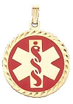 Diamond Cut Medical ID Pendant in 10K Yellow Gold - 25mm