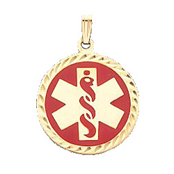 Diamond Cut Medical ID Pendant in 14K Yellow Gold - 25mm