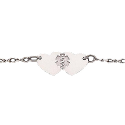 Yellow Gold or Silver Medical ID Anklet - Hearts