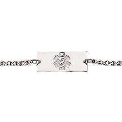 Yellow Gold or Silver Medical ID Anklet - Rectangle