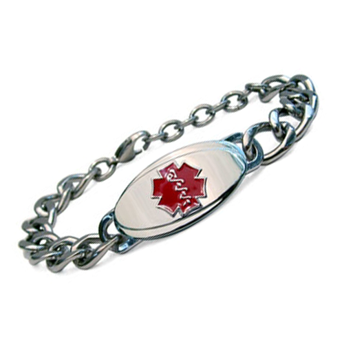 Titanium Curb Chain Medical ID Bracelet - Large Red