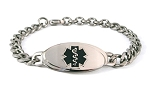 Titanium Curb Chain Medical ID Bracelet - Small Black