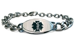 Titanium Curb Chain Medical ID Bracelet - Large Black