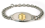 Titanium Curb Chain Medical ID Bracelet - Small Gold