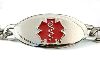 Titanium Curb Chain Medical Id Bracelet Small Red
