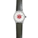 Women's Medical ID Watch with Black Leather Band