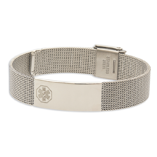 Stainless Steel Mesh Medical Id Bracelet