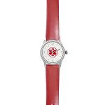 Women's Medical ID Watch with Red Leather Band