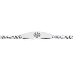 14K White Gold Medical ID Bracelet with Figaro 3mm Chain